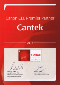 Кантек член на Canon CEE Premier Partner Club
